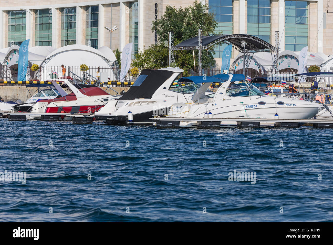 Harbor with boats at the pier, Sochi, Russia. - Stock Image