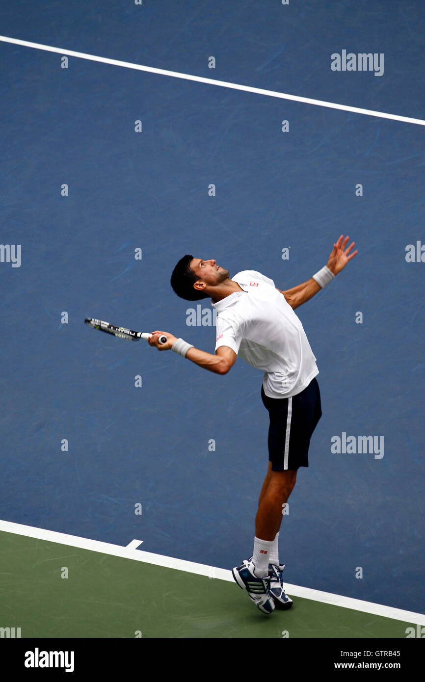 New York, United States. 09th Sep, 2016. Novak Djokovic serving during his semi final match against Gael Monfils - Stock Image