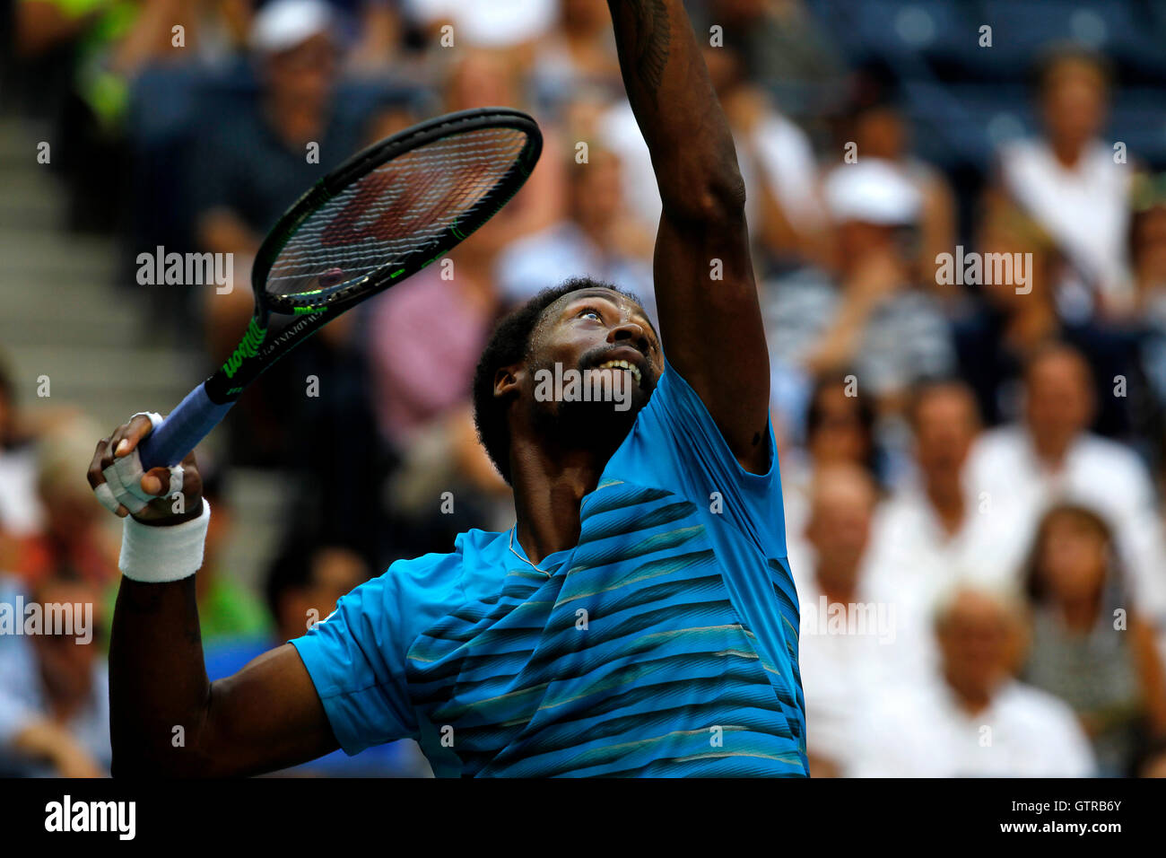 New York, United States. 09th Sep, 2016. Gael Monfils of France serving during his semi final match against Novak - Stock Image