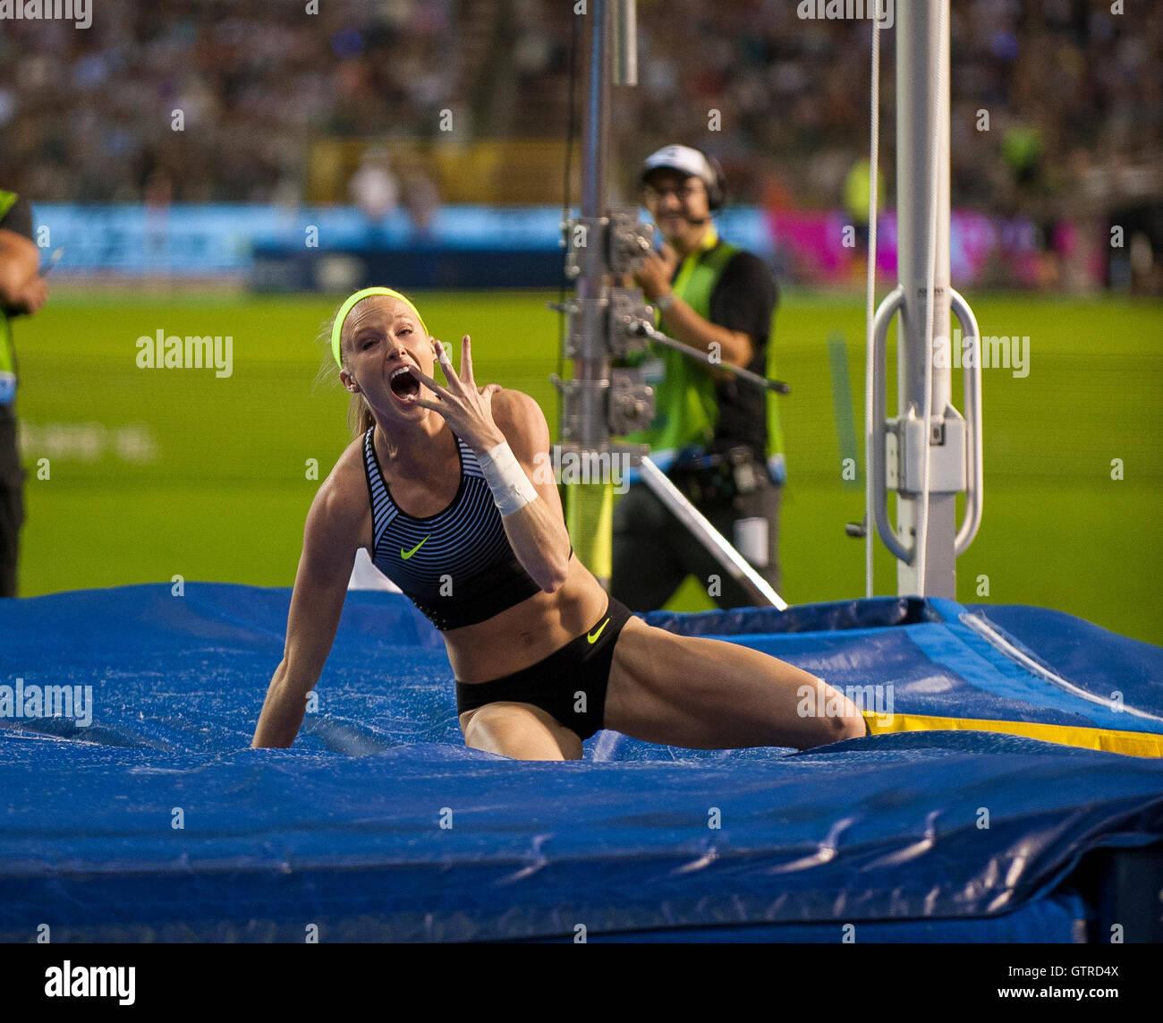 BRUSSELS, BELGIUM - SEPTEMBER 9: Sandi Morris of the USA winning the women's Pole Vault at the AG Insurance - Stock Image