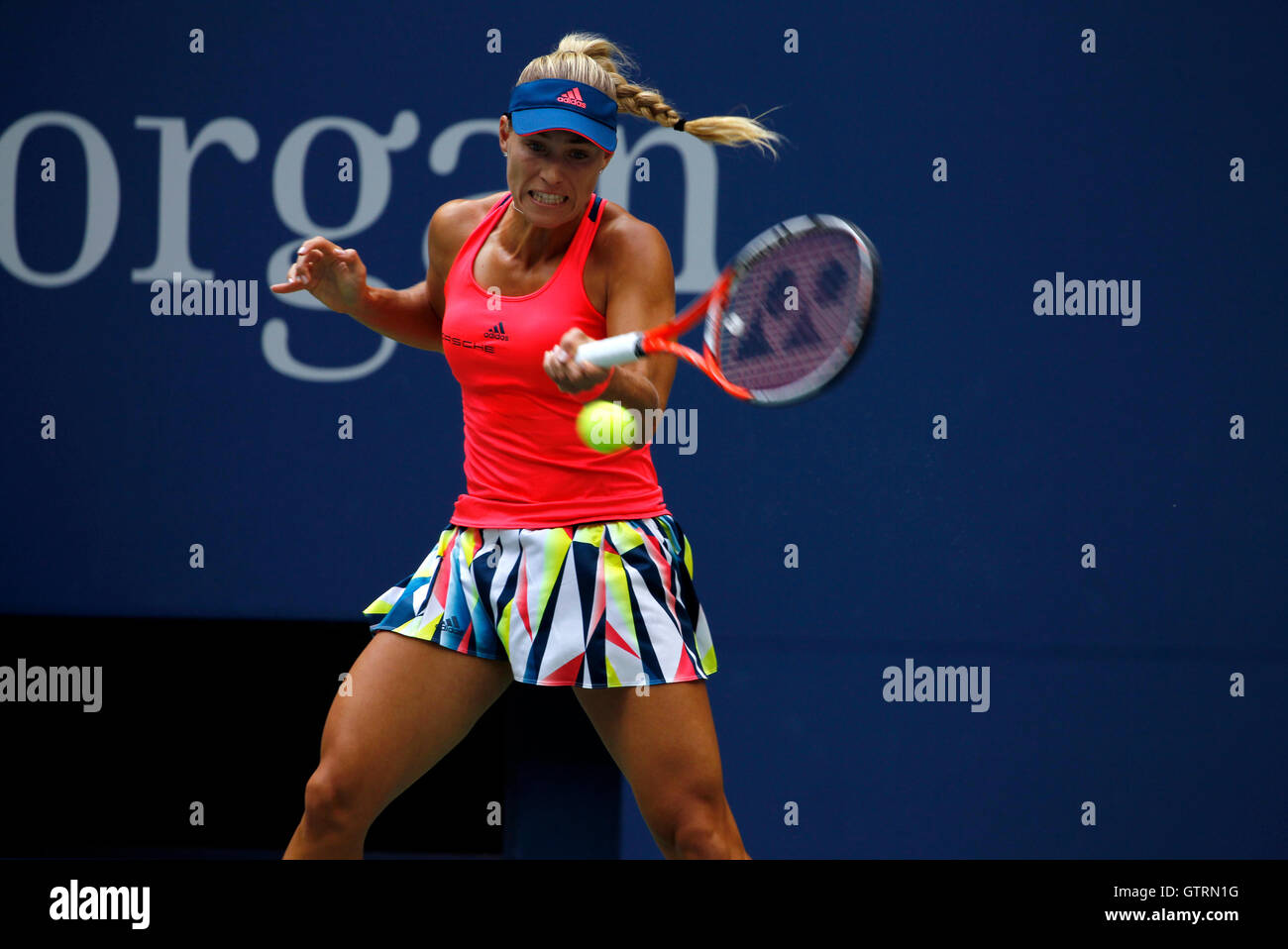 New York, USA. 10th September, 2016. Number 2 seed, Angelique Kerber of Germany in action against Karolina Pliskova - Stock Image