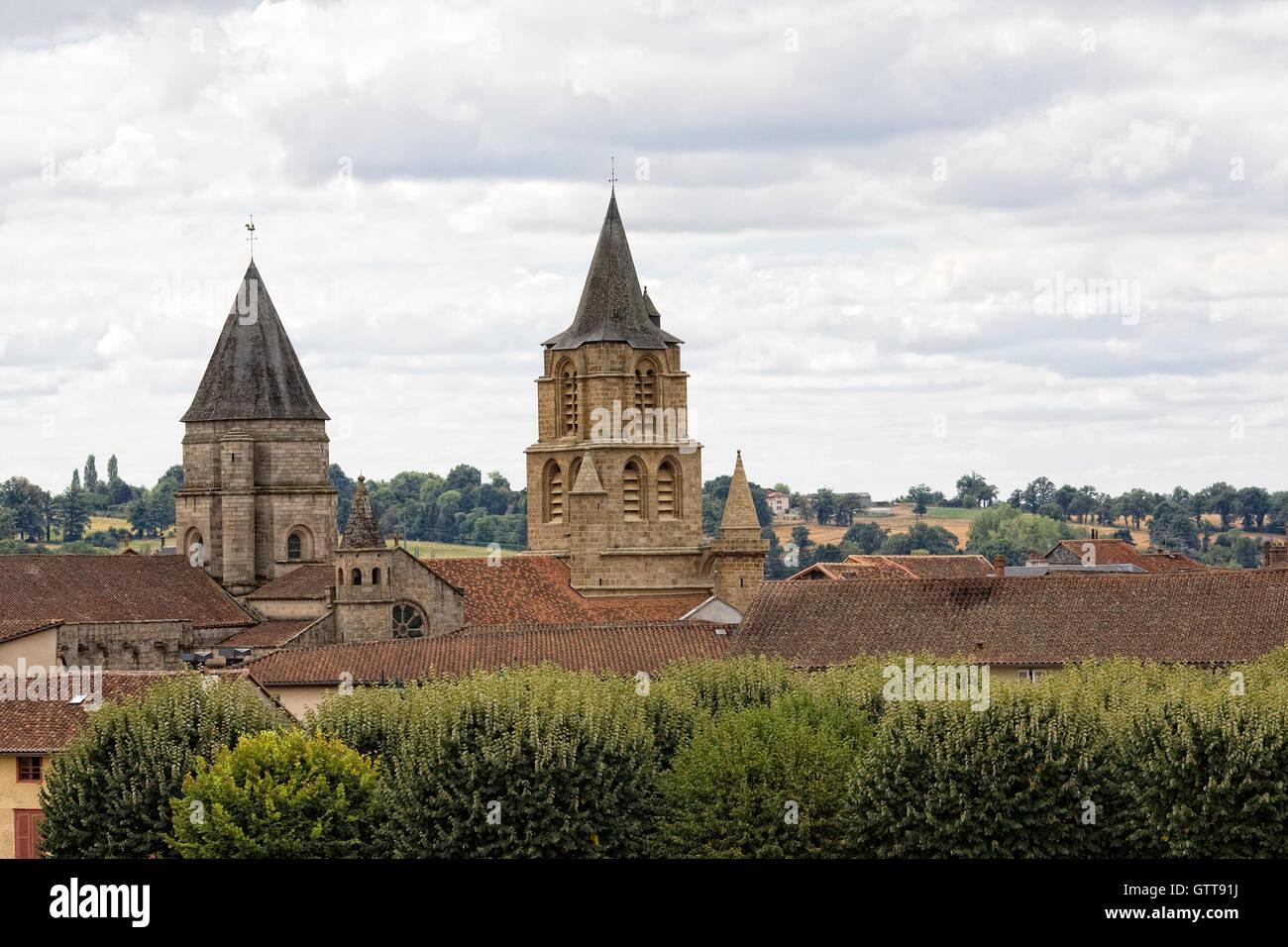 Towers of Collegiale Church of Saint-Junien, St. Junien, France. - Stock Image