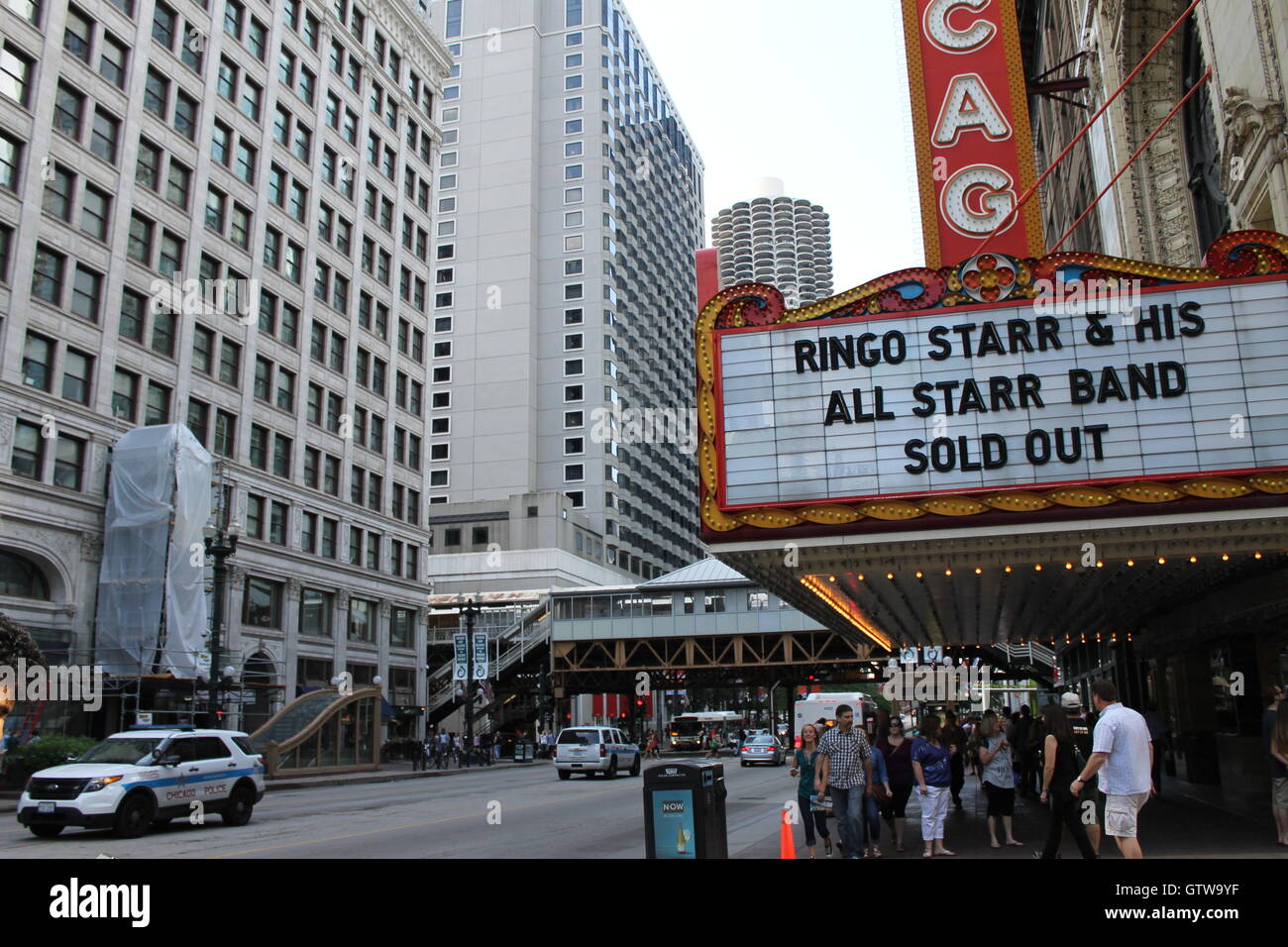The Chicago Theater on State Street in Chicago, IL - Stock Image