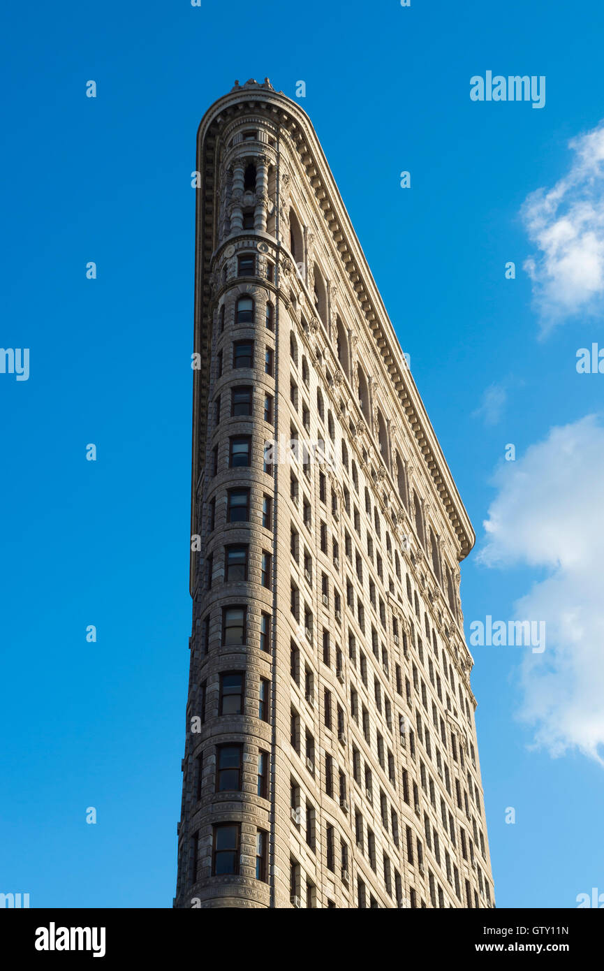 NEW YORK CITY - SEPTEMBER 5, 2016: The Flatiron Building, one of the first skyscrapers built with a steel frame, - Stock Image