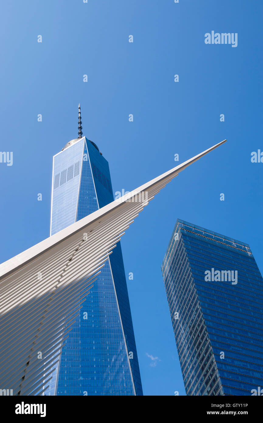 NEW YORK CITY - SEPTEMBER 4, 2016: Distinctive architectural form of the Oculus transportation hub at World Trade - Stock Image
