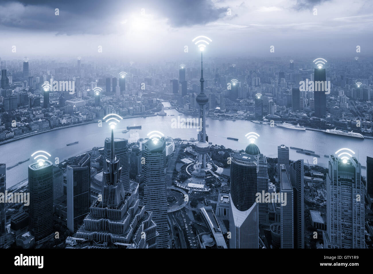 Aerial view of Shanghai skyline with Wifi network connection in center business district.Technology, Network and - Stock Image