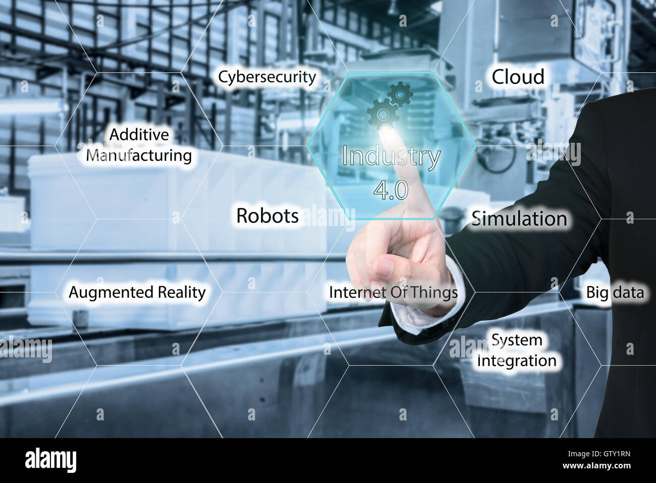 Business man touching industry 4.0 icon in virtual interface screen showing data of smart factory. Business industry - Stock Image
