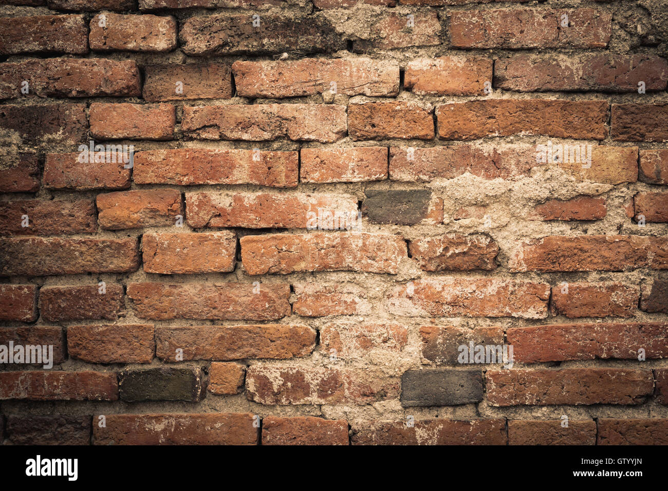 Background of grunge old brick wall texture, colored filter effect ...