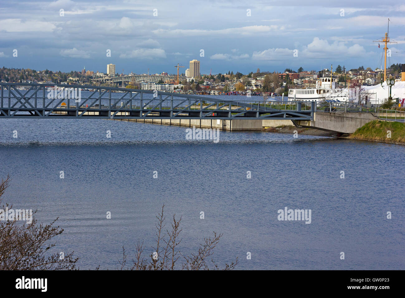 Lake Union panorama after the rain, Seattle, Washington, USA. Stock Photo