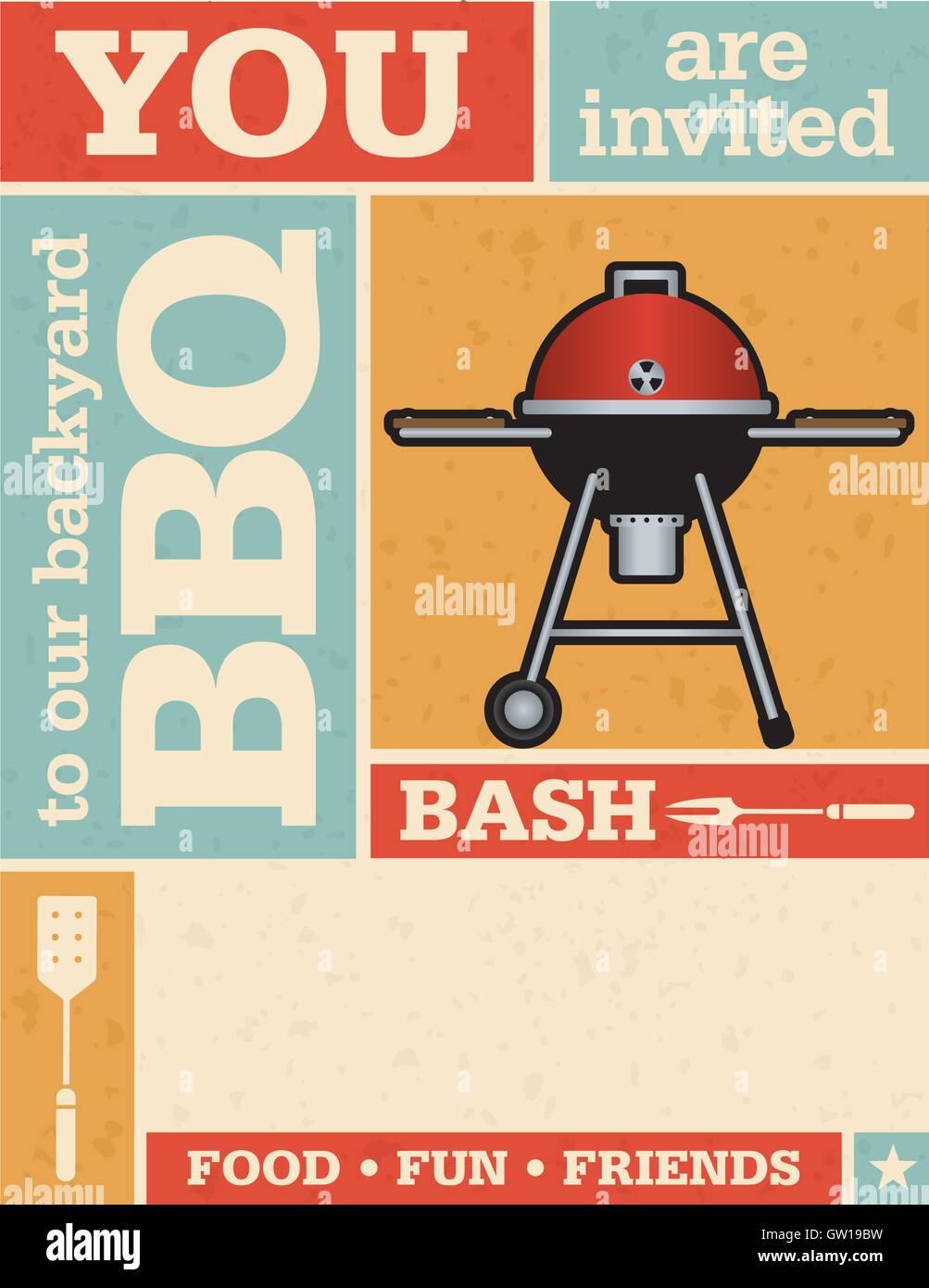 retro grunge backyard barbecue invitation template easy to edit