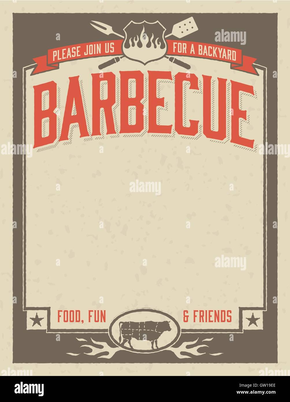 Backyard Barbecue Invitation Template Stock Vector Art