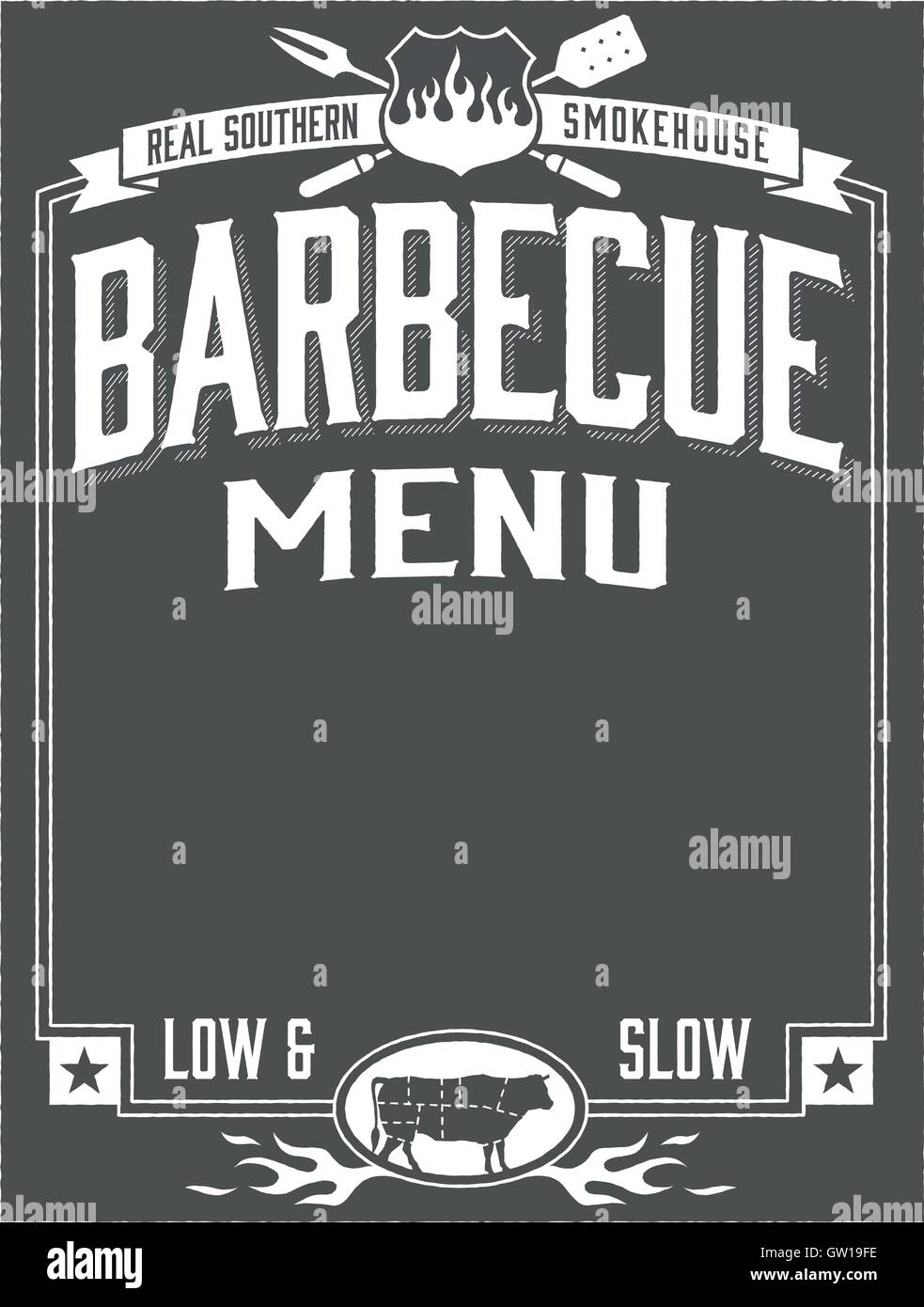 real southern barbecue menu template stock vector art illustration