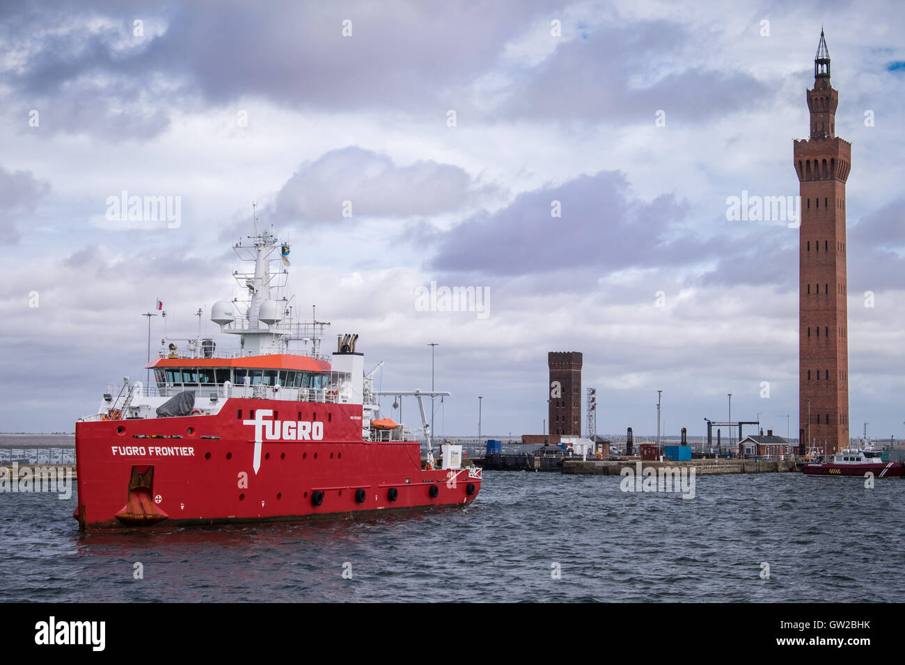 Survey vessel Fugro Frontier in Grimsby Royal Dock during the Hornsea Project One UXO survey - Stock Image