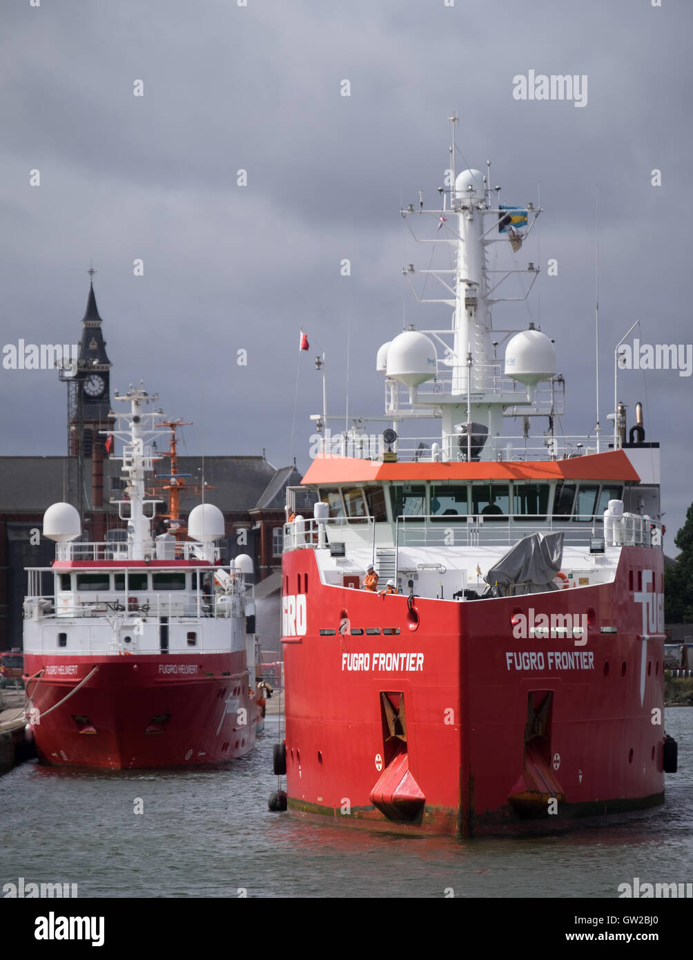 Survey vessels Fugro Helmert (left) and Fugro Frontier (right) in Grimsby Royal Dock during the Hornsea Project - Stock Image