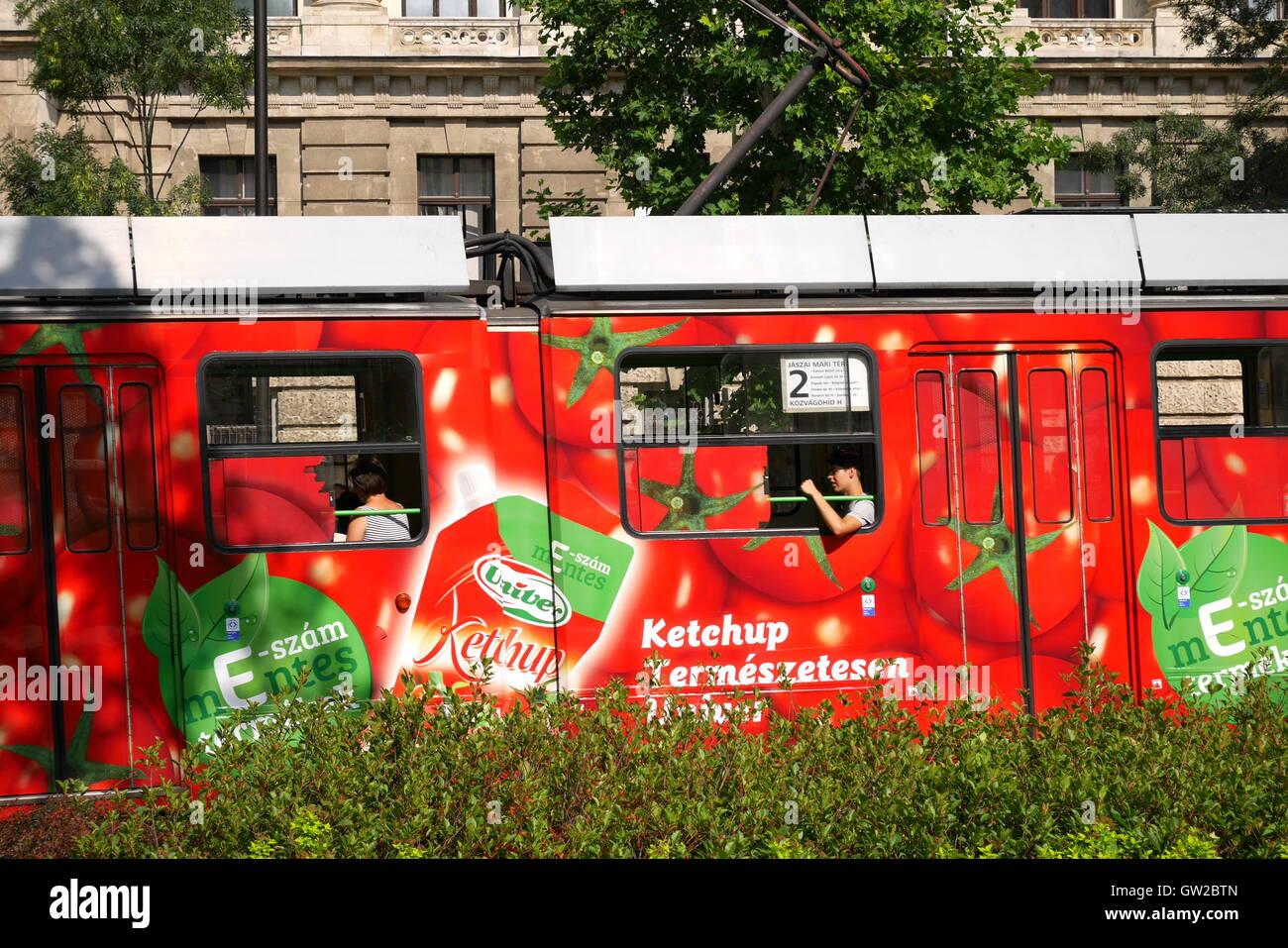 Tram travelling through Pest, Budapest, Hungary Stock Photo