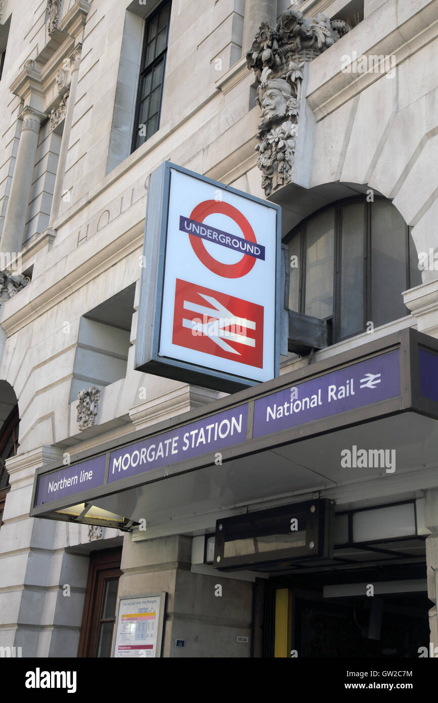 moorgate tube and railway station entrance london - Stock Image