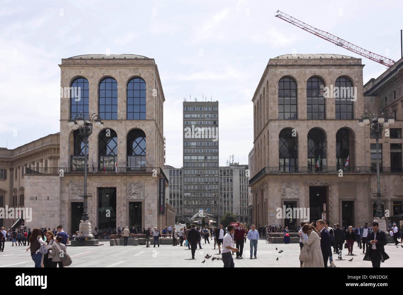 Museo Del 900 Milano.Milan Italy April 14 2015 View Of Piazza Diaz Skyscraper And