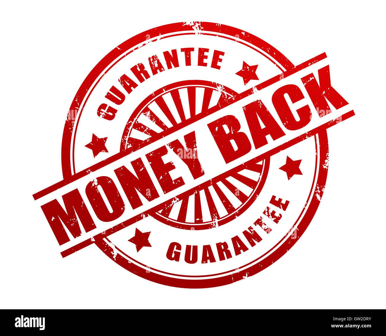 money back guarantee stamp concept  3d illustration - Stock Image