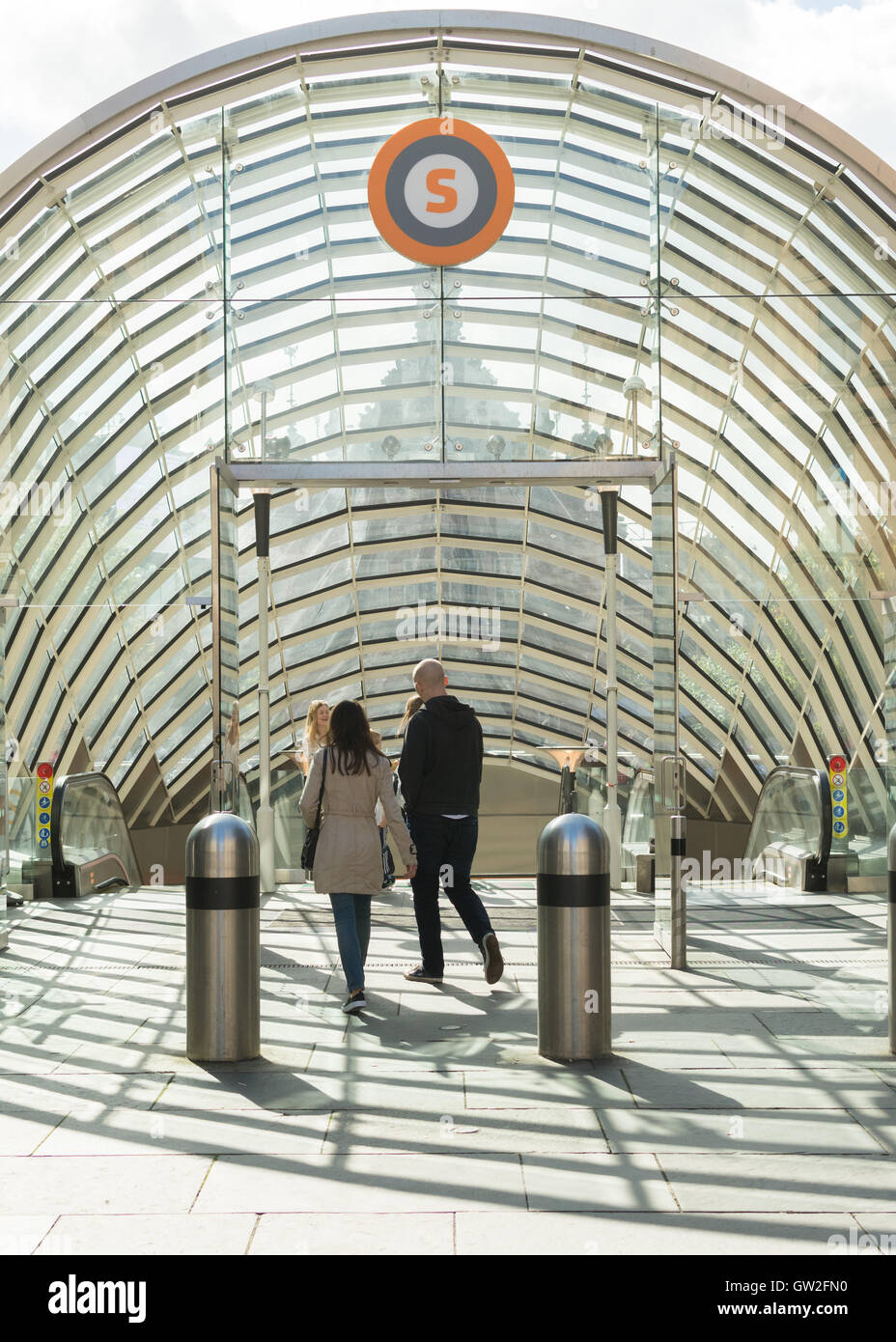 Glasgow Subway - St Enoch Station entrance, Glasgow, Scotland, UK - Stock Image