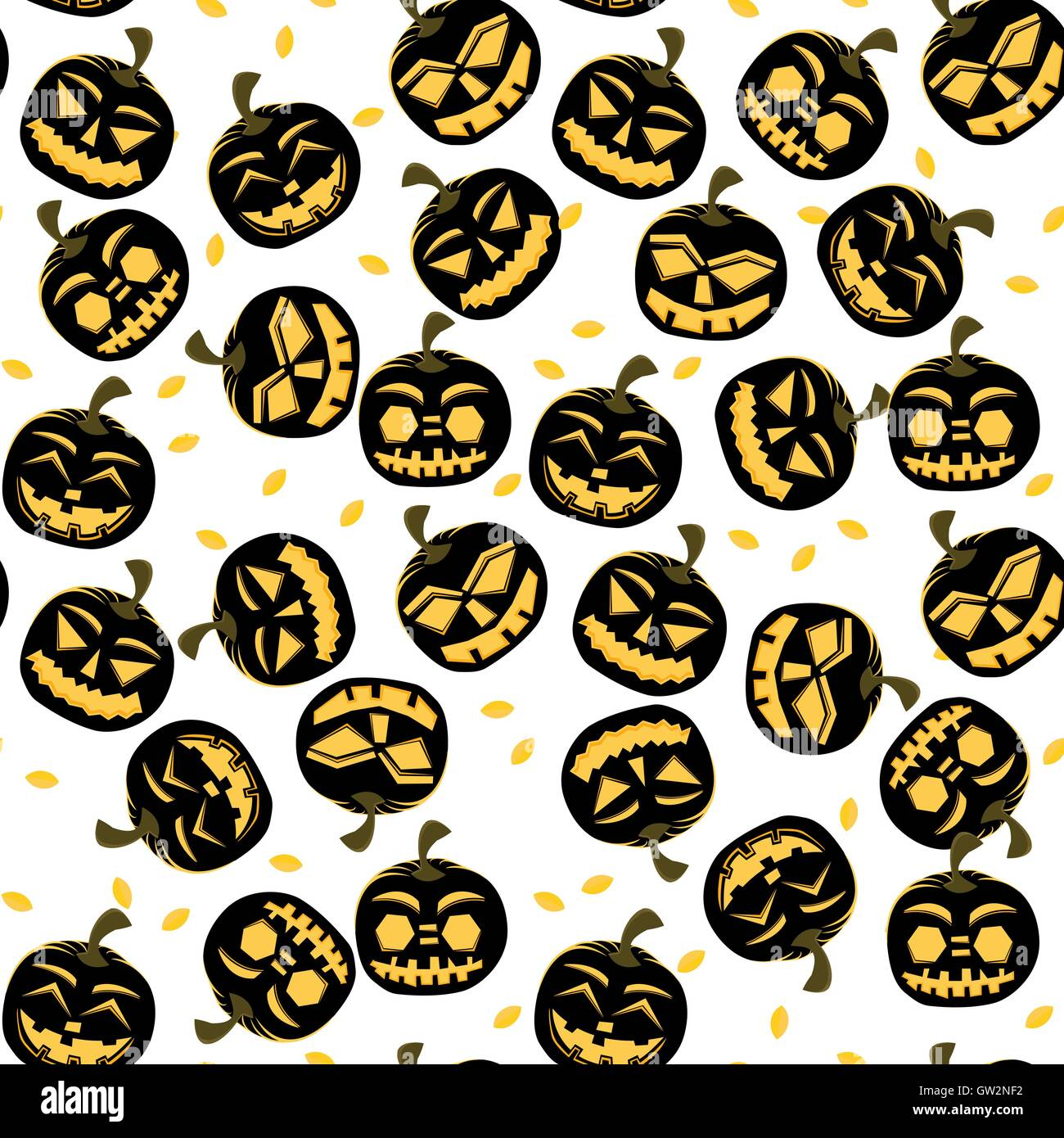 Seamless Pattern with Halloween Pumpkins. Vector Illustration. - Stock Vector