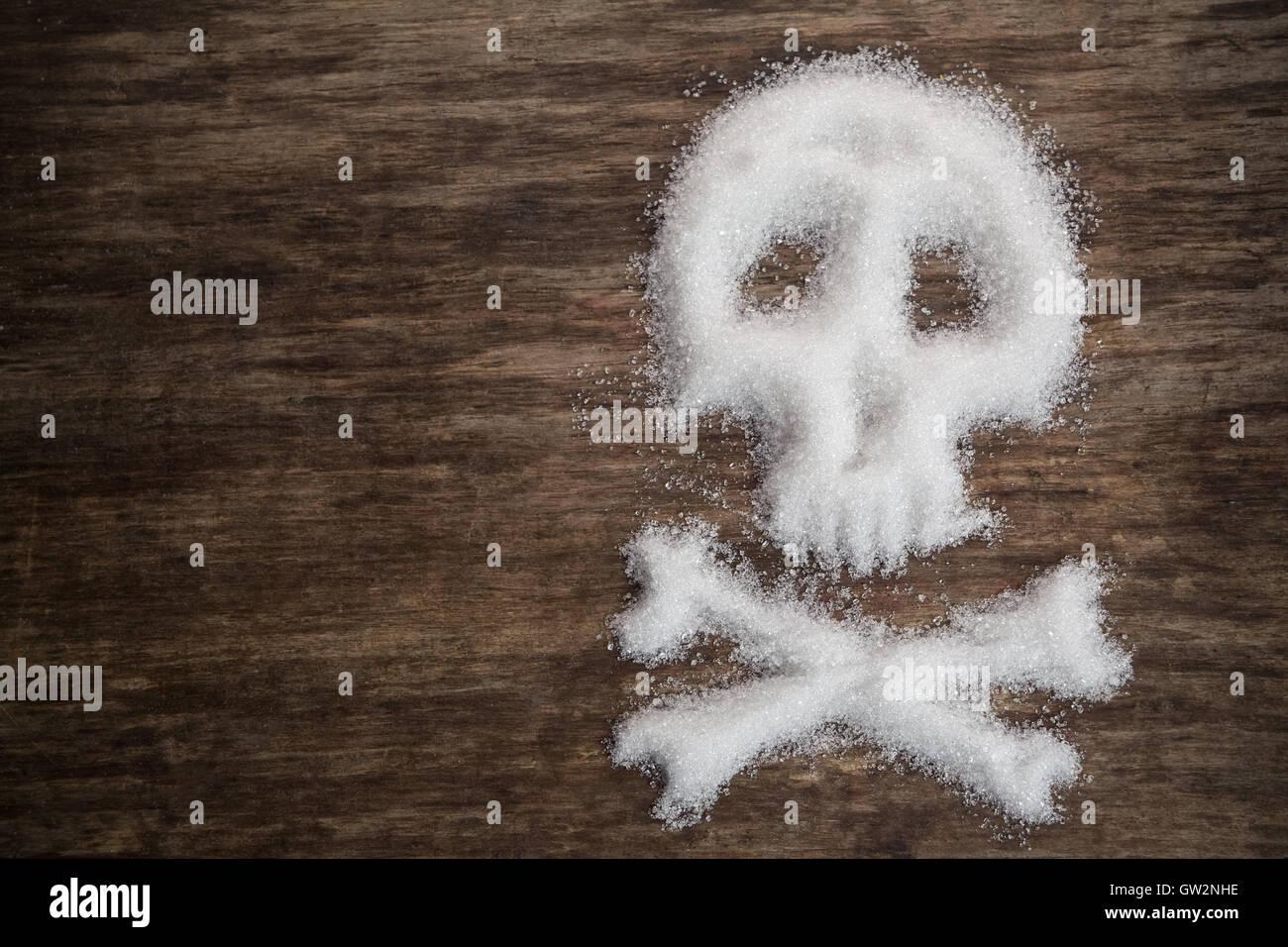unhealthy white sugar concept - Stock Image