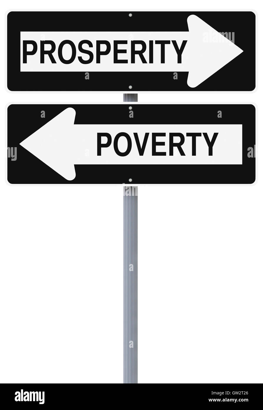 Prosperity or Poverty - Stock Image