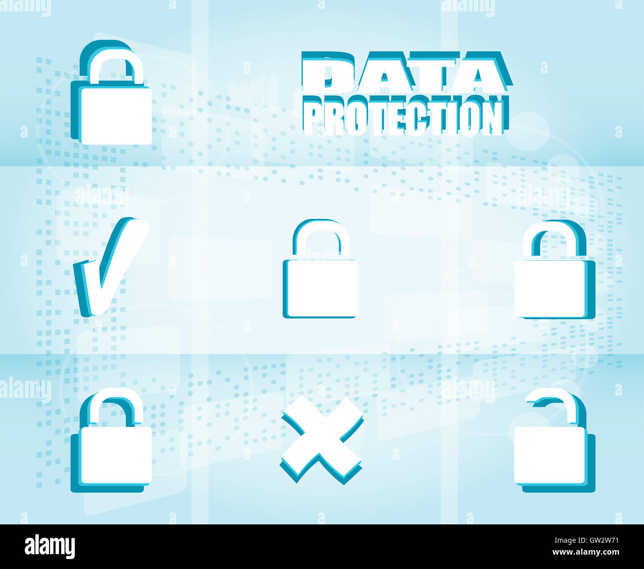 Security concept: Lock on digital screen - Stock Image