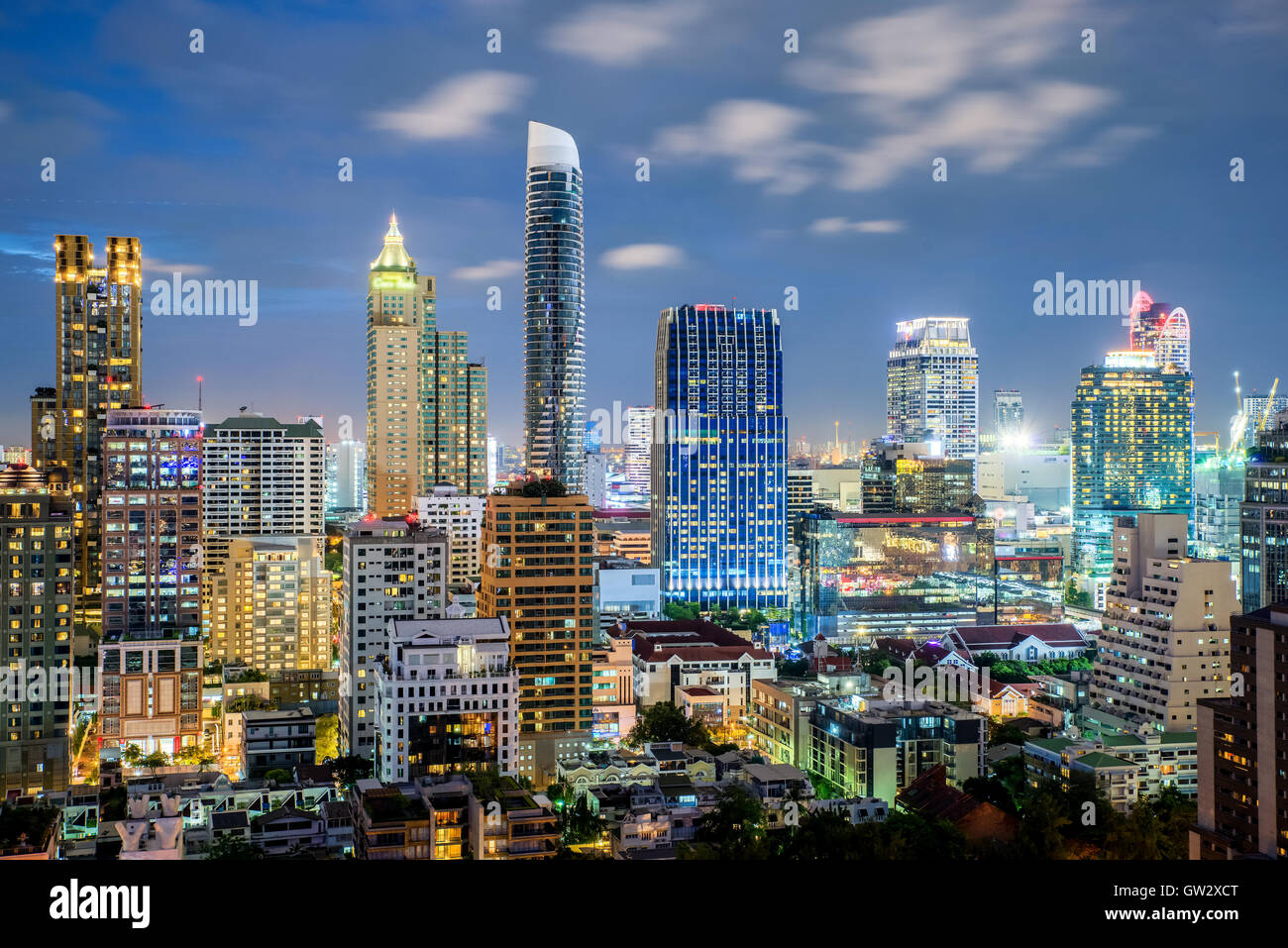 Bangkok city skyline and skyscraper at night in Bangkok,Thailand - Stock Image