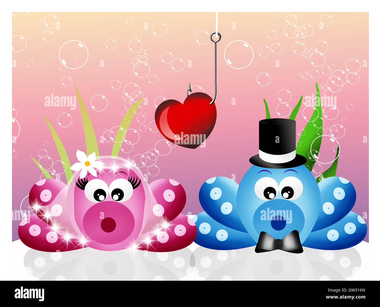 Octopus in love - Stock Image