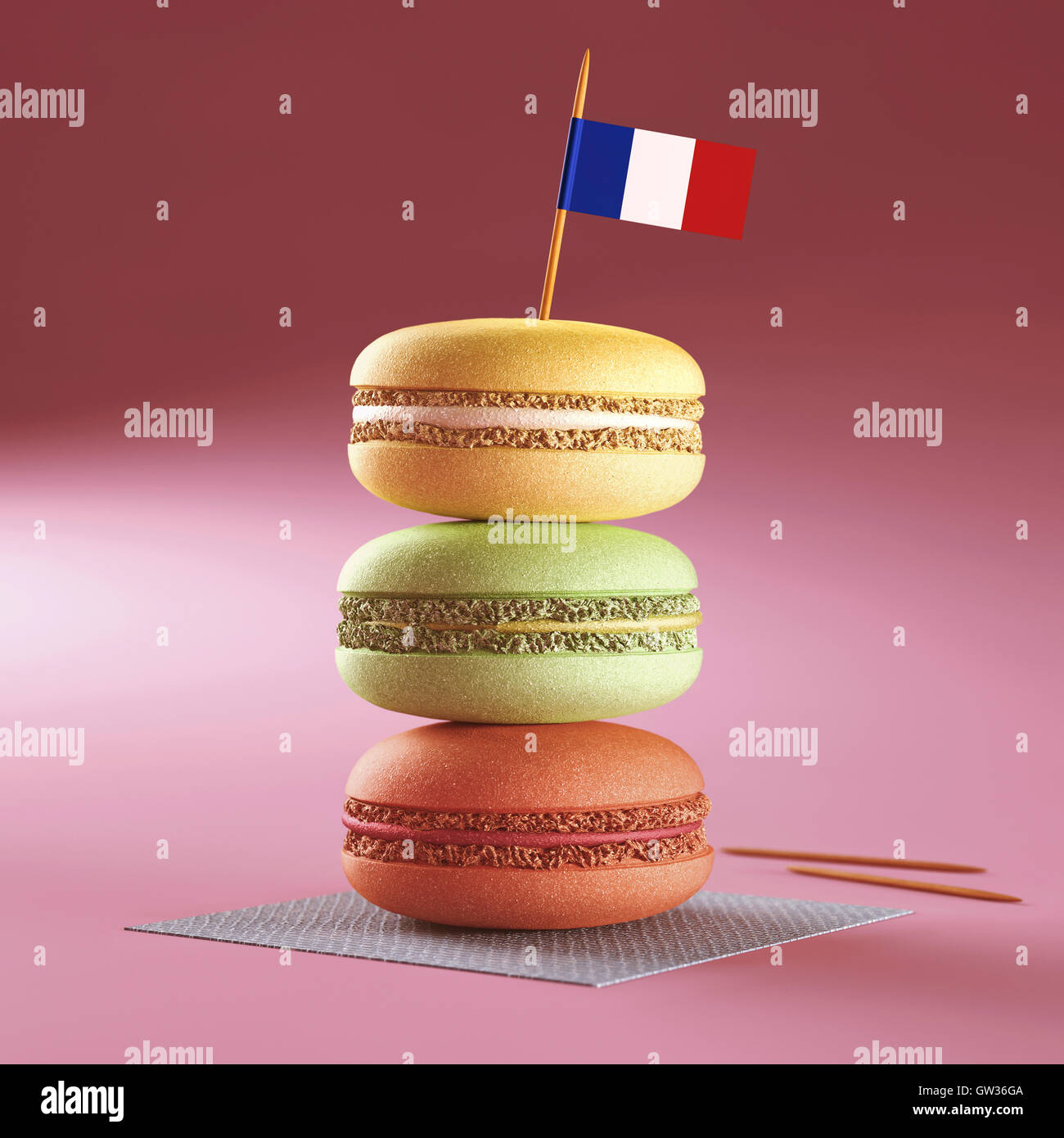 Macaroons with French flag. - Stock Image