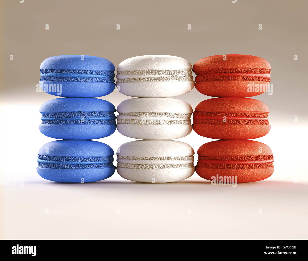 Blue, white and red macaroons. - Stock Image