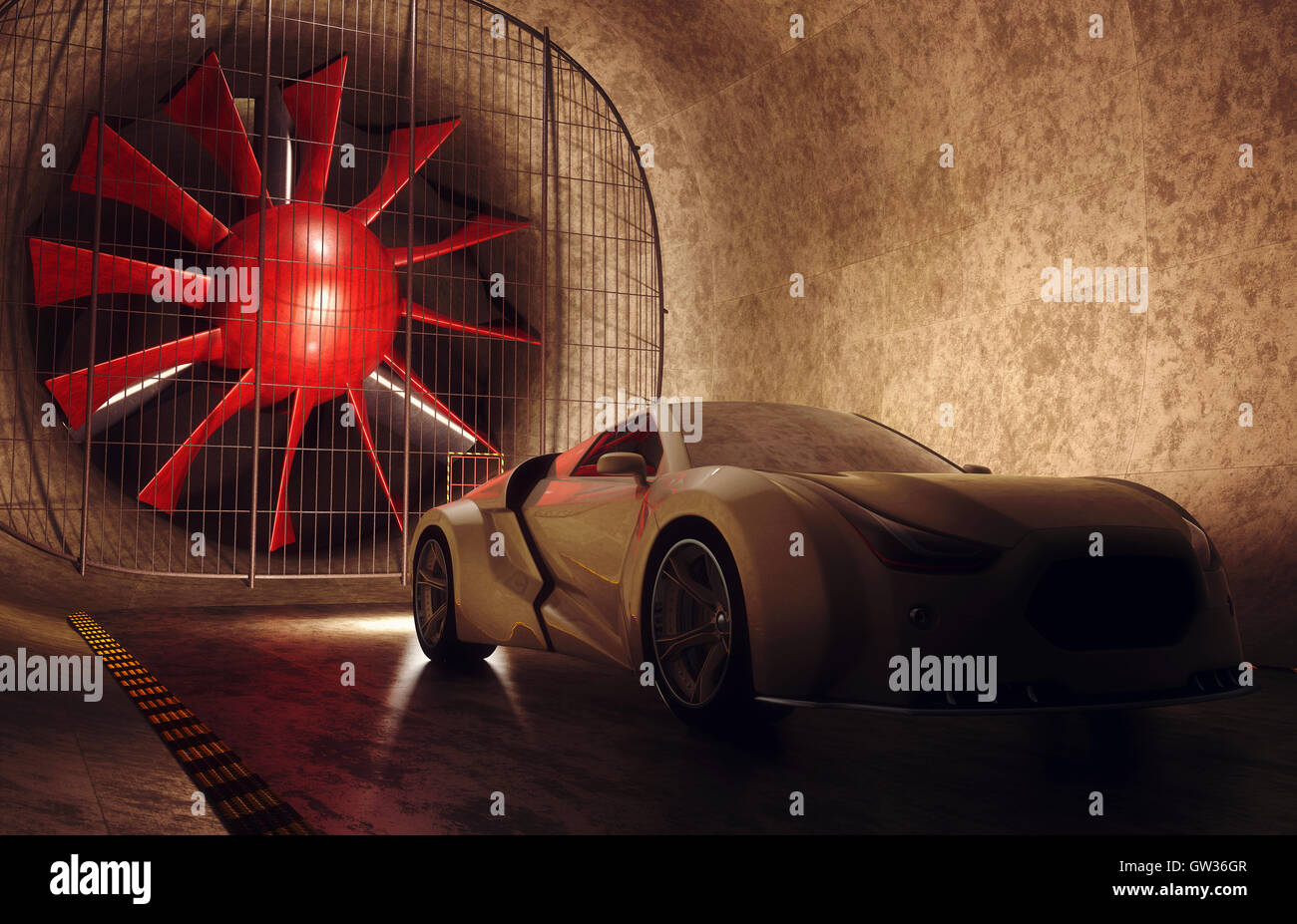 Sports car in wind tunnel, illustration. - Stock Image