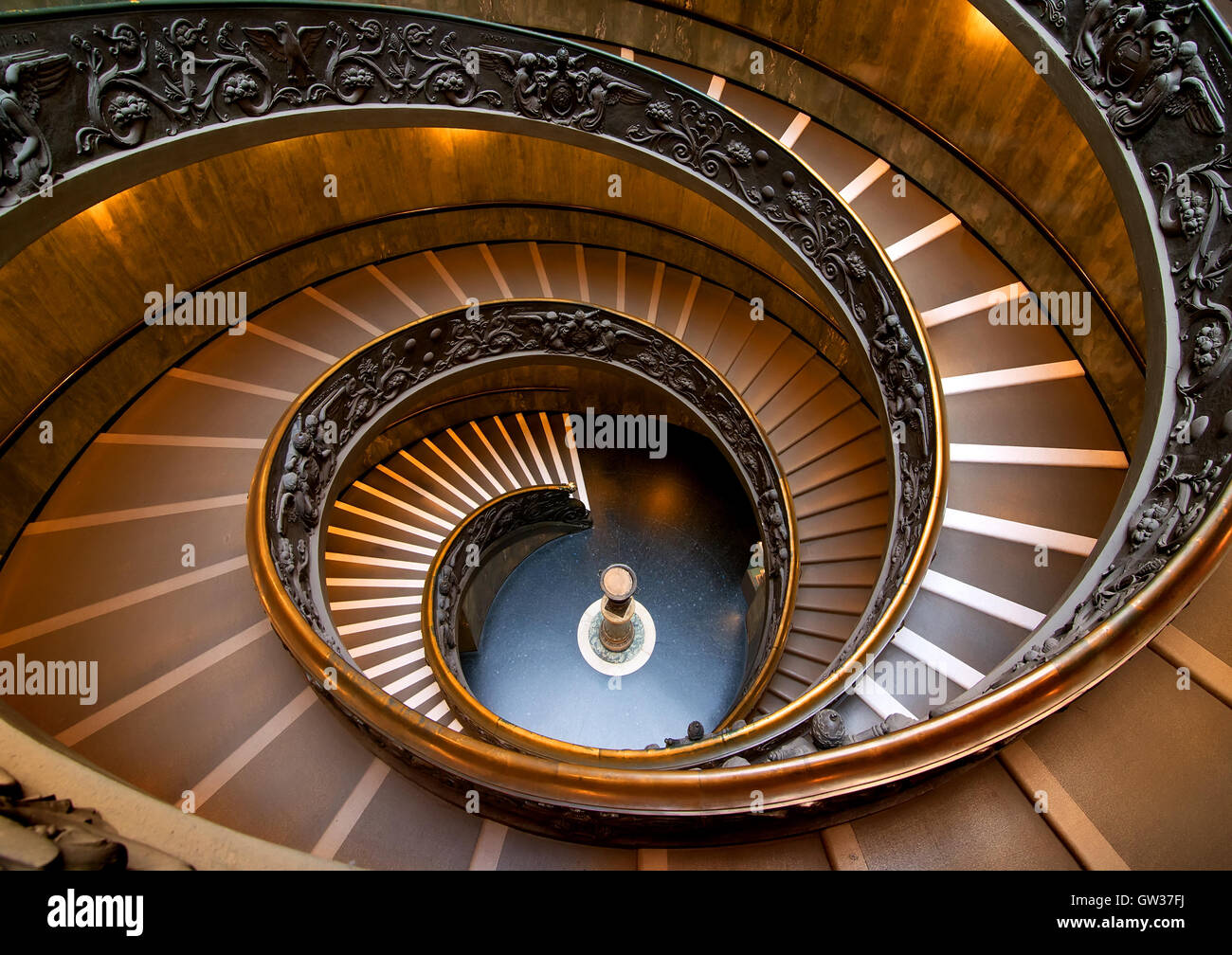 Round Staircase In Vatican Museum View From Above Vatican On