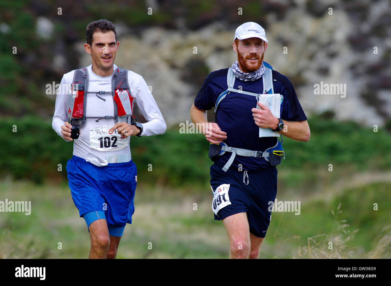 Runners finishing Anglesey Ultra Marathon, Ring o Fire - Stock Image