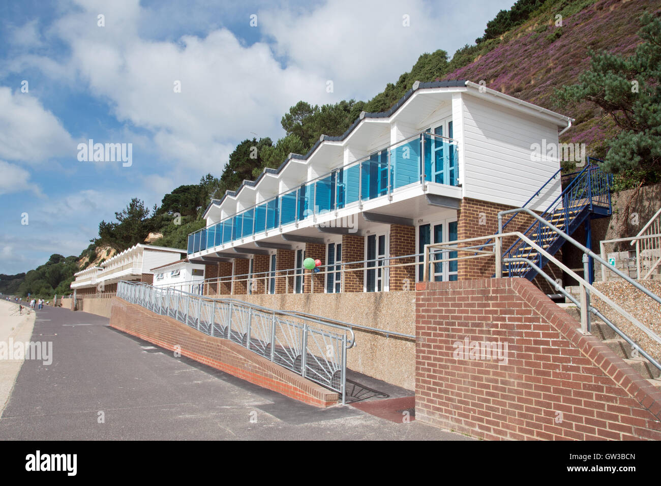 Quality beach huts at Branksome Beach, Poole, Dorset Stock Photo