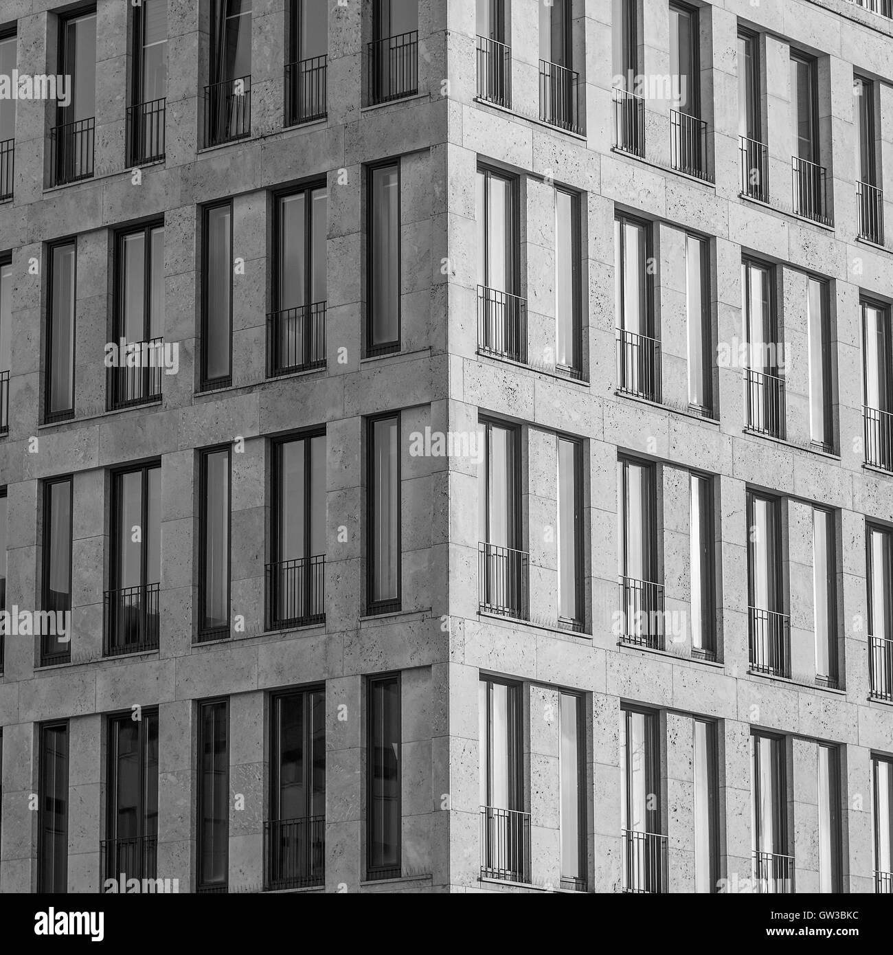 Windows Of The Office Buildings Black And White Image Stock Photo Alamy