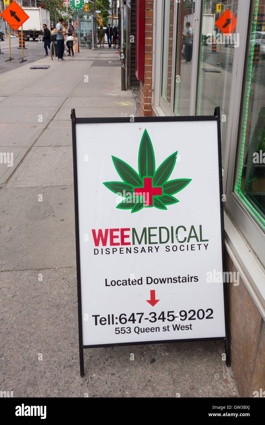 marijuana cannabis dispensary sign - Toronto, Ontario, Canada - Stock Image