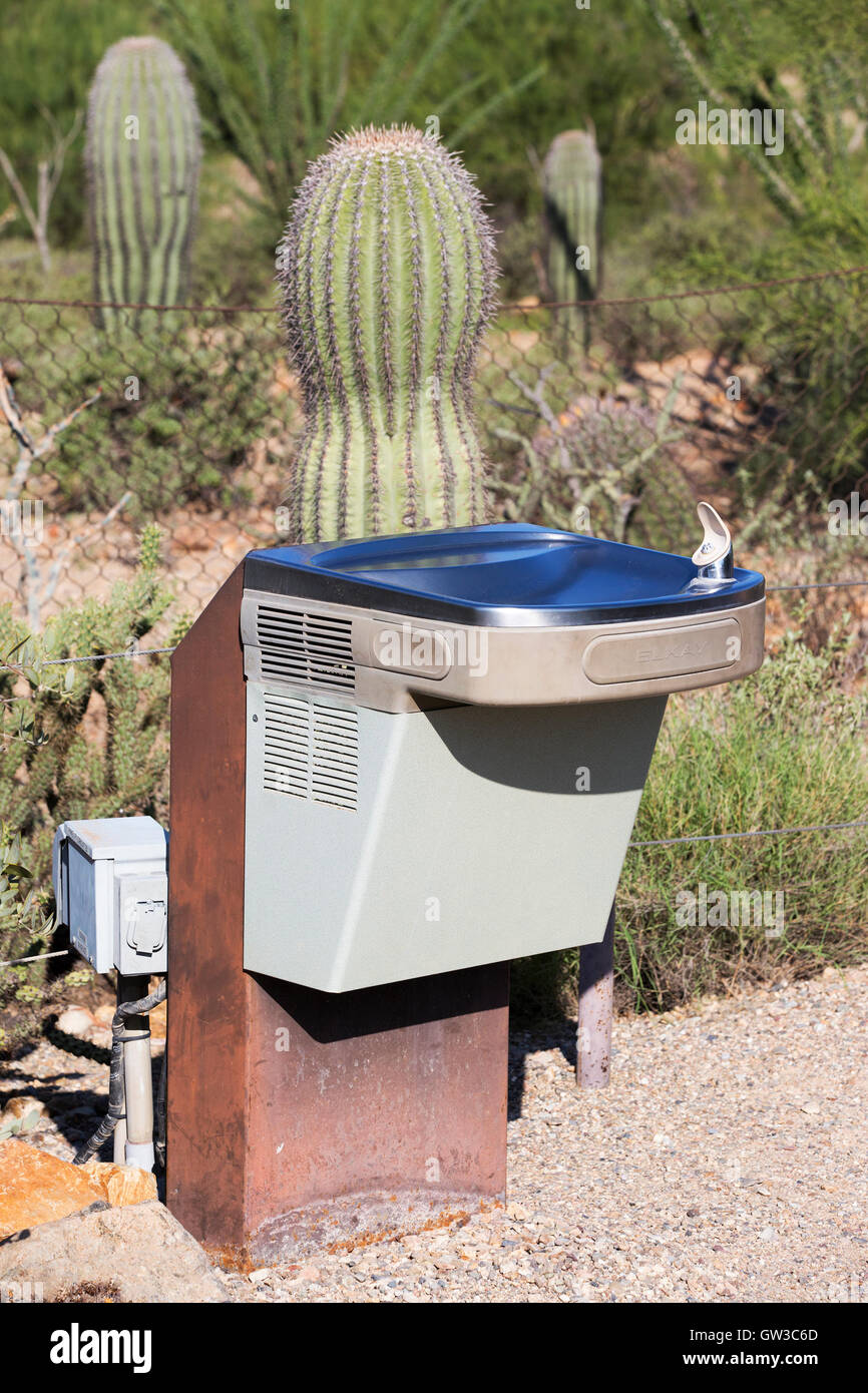 Drinking water fountain on desert hiking trail. - Stock Image