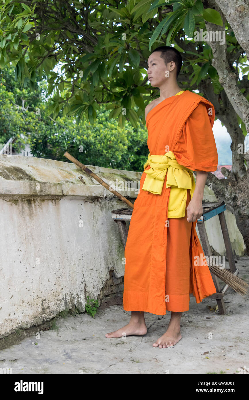 Saffron-robed Buddhist monk with a broom, Wat Sene temple, Luang Prabang, Laos - Stock Image