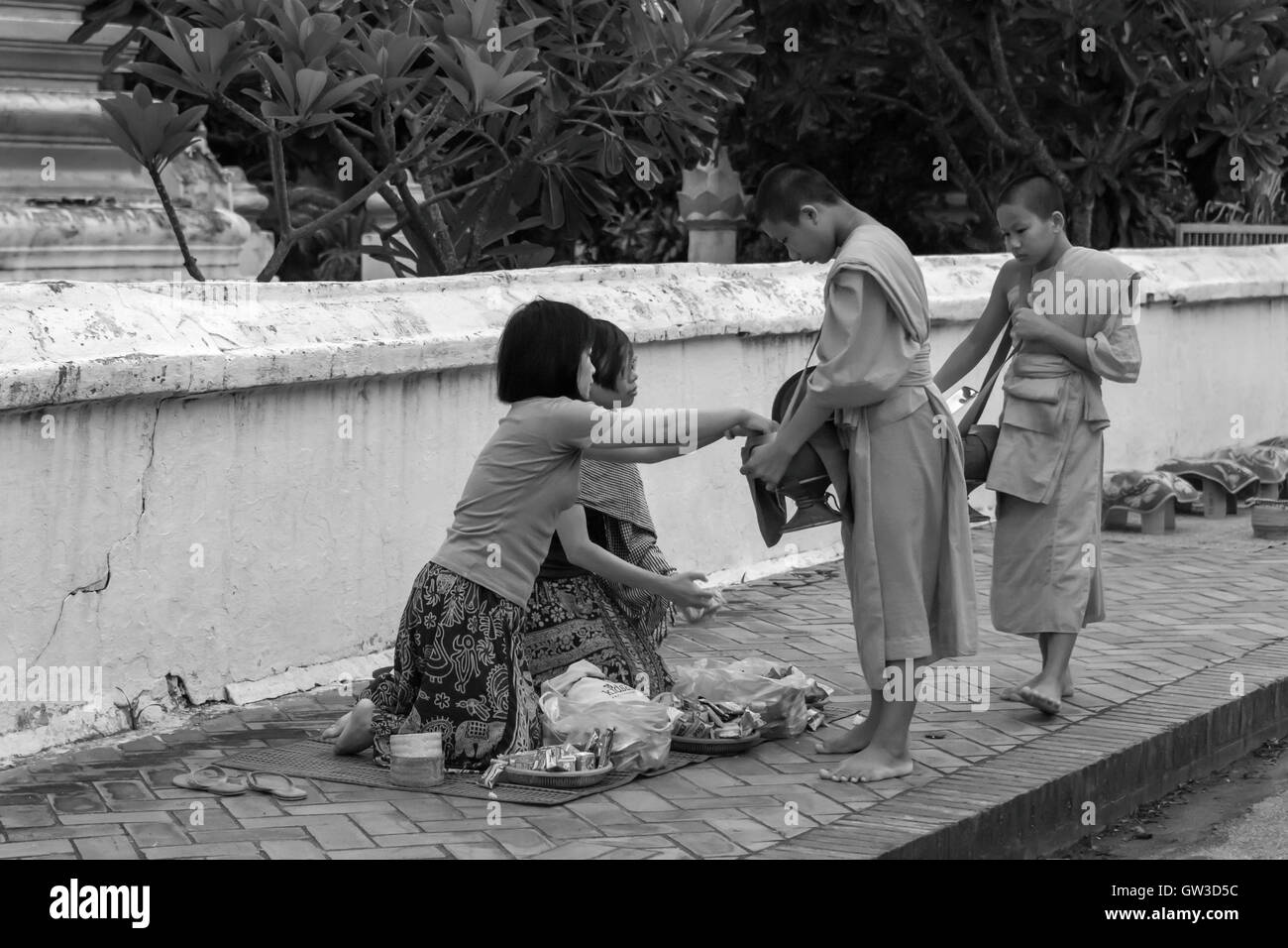 Pre-dawn, young Buddhist monks receive alms from local women, Wat Saen temple, Luang Prabang, Laos Stock Photo