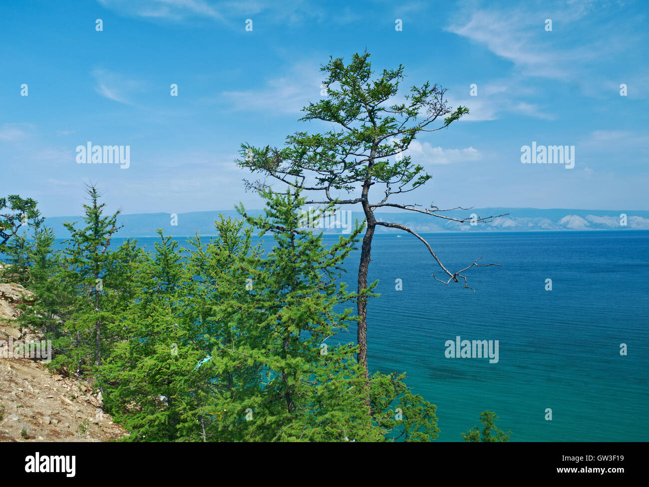 coast of Olkhon island, lake Baikal, Siberia, Russia - Stock Image