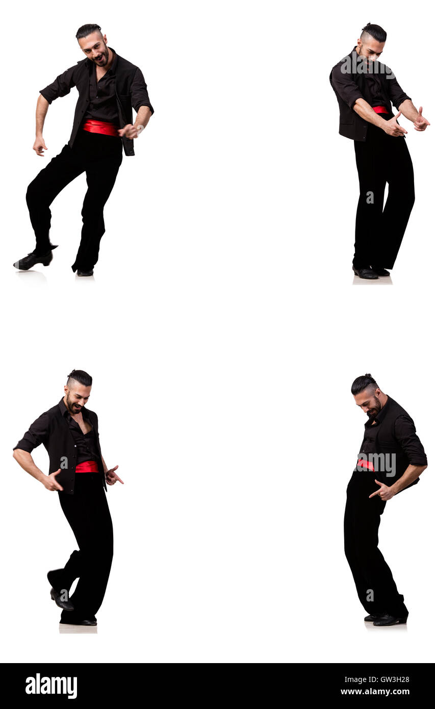 Spanish dancer in various poses on white - Stock Image