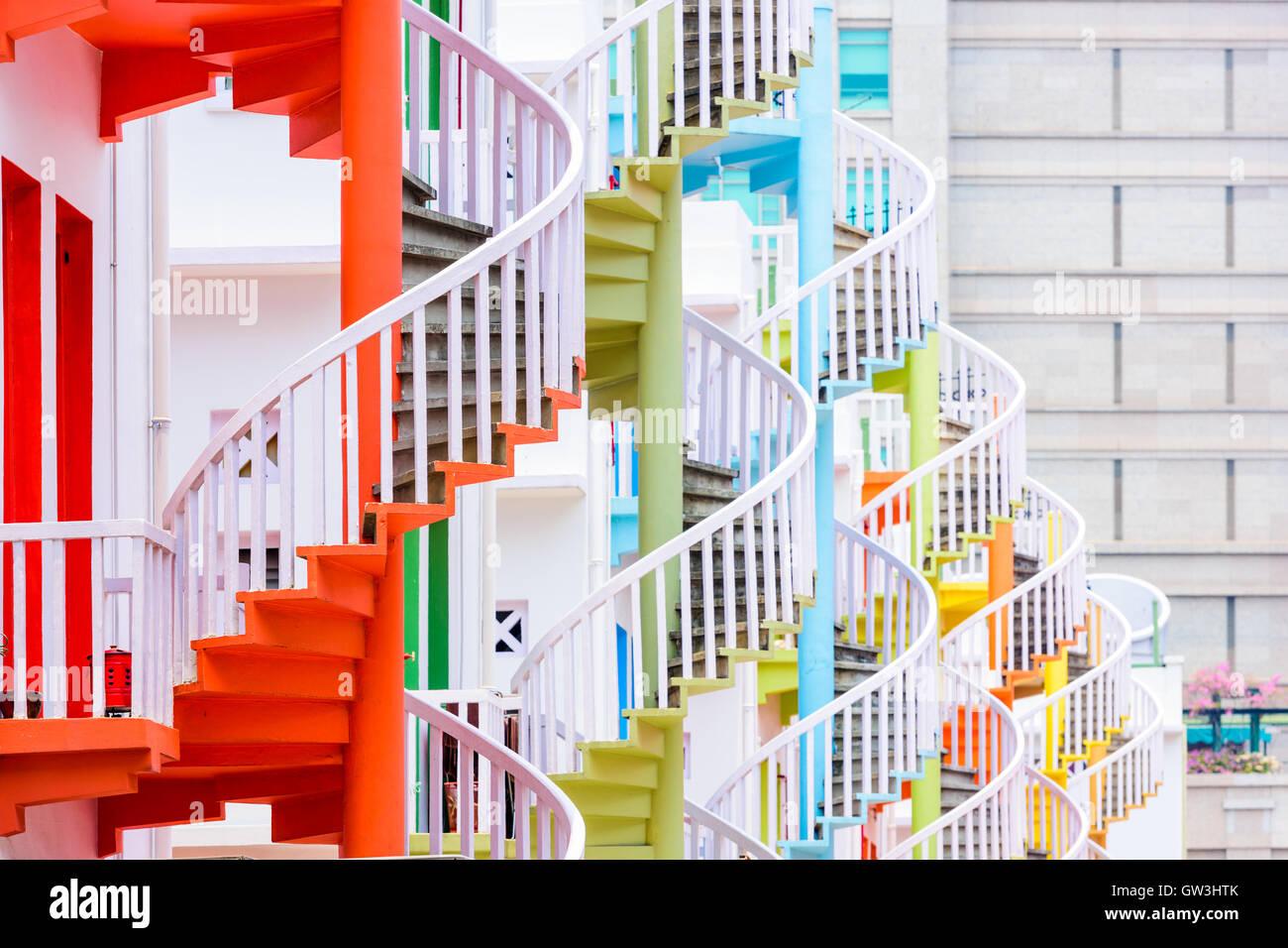 Singapore at Bugis Village spiral staircases. - Stock Image