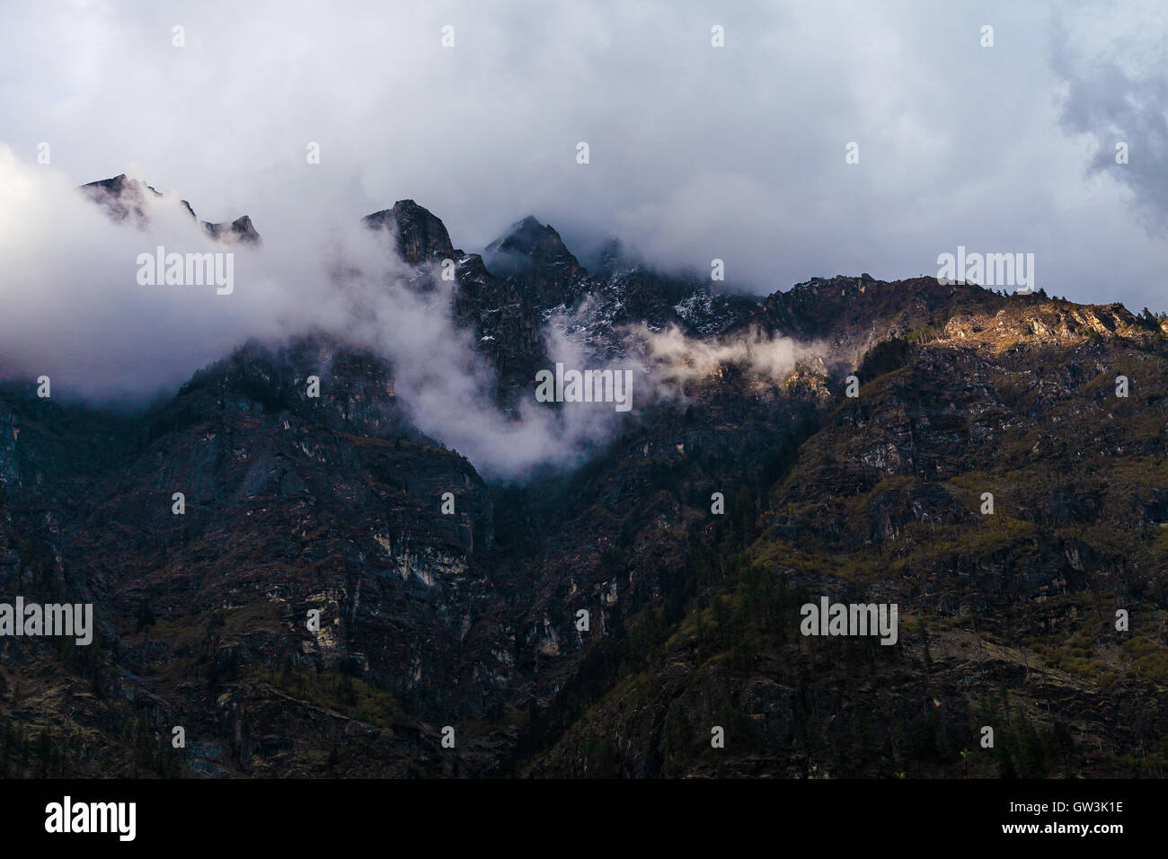 Landscapes Mountains Nature Morning Viewpoint.Mountain Trekking Landscape Background. Nobody photo. Horizontal picture. - Stock Image