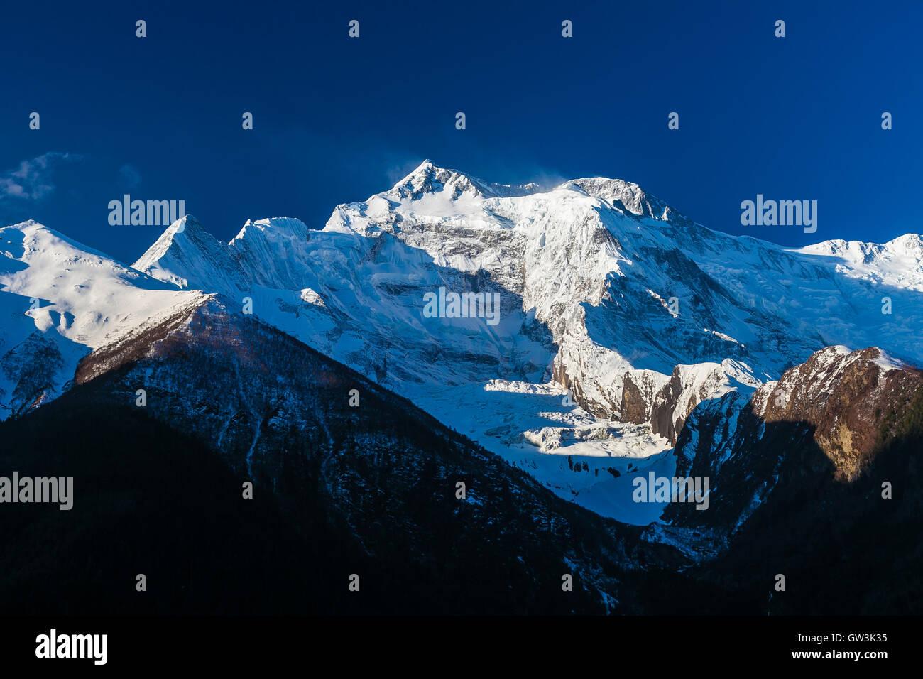 Landscapes Snow Mountains Peak Nature Morning Viewpoint.Mountain Trekking Landscape Background. Nobody photo. Horizontal - Stock Image