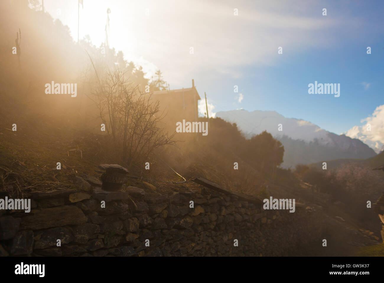 Landscapes Mountains Nature Morning Viewpoint.Mountain Trekking Landscape Background. Nobody photo.Asia Horizontal - Stock Image