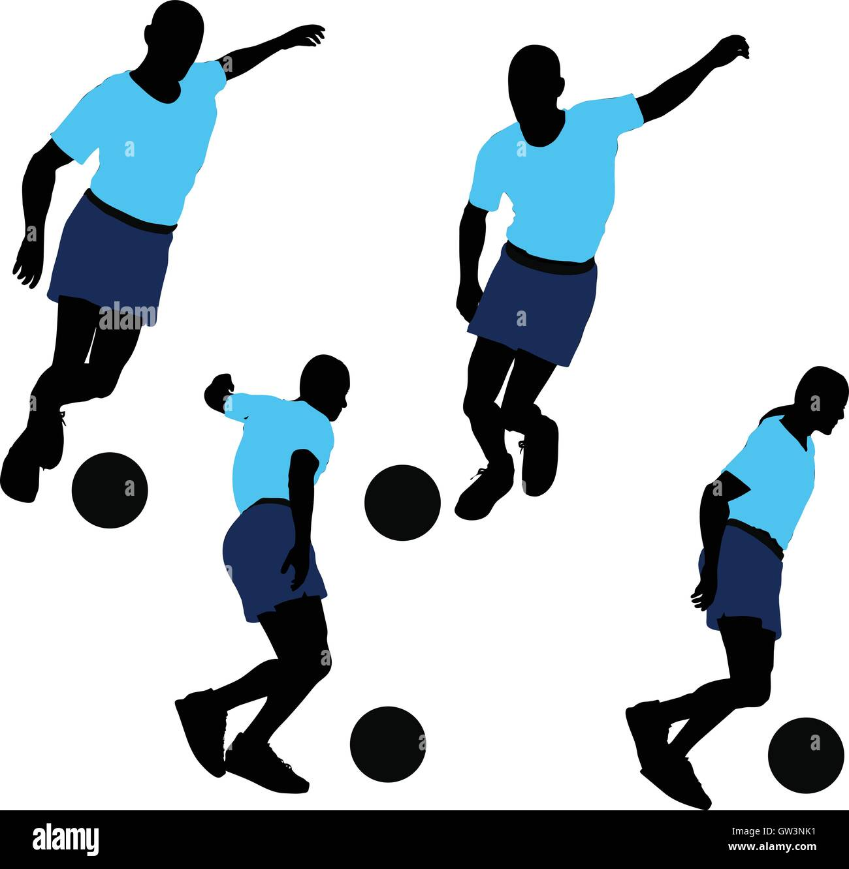 EPS 10 vector illustration of Soccer Player silhouette - Stock Image