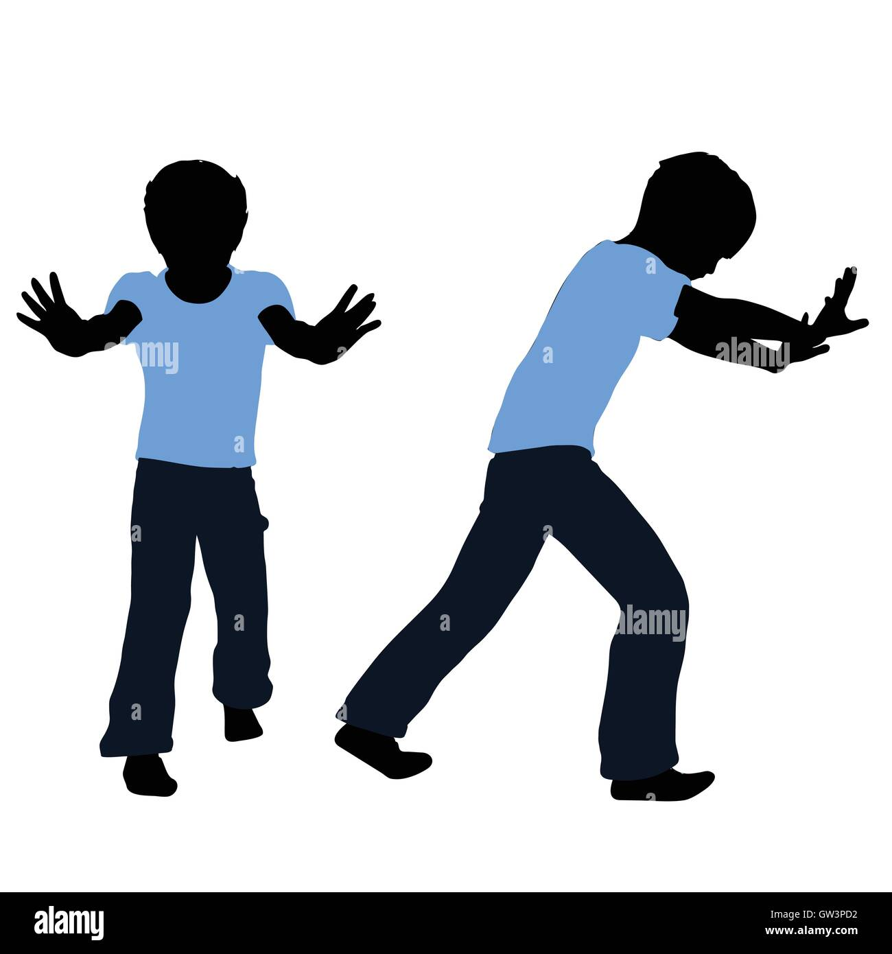 EPS 10 vector illustration of boy silhouette in Pushing Pose - Stock Vector