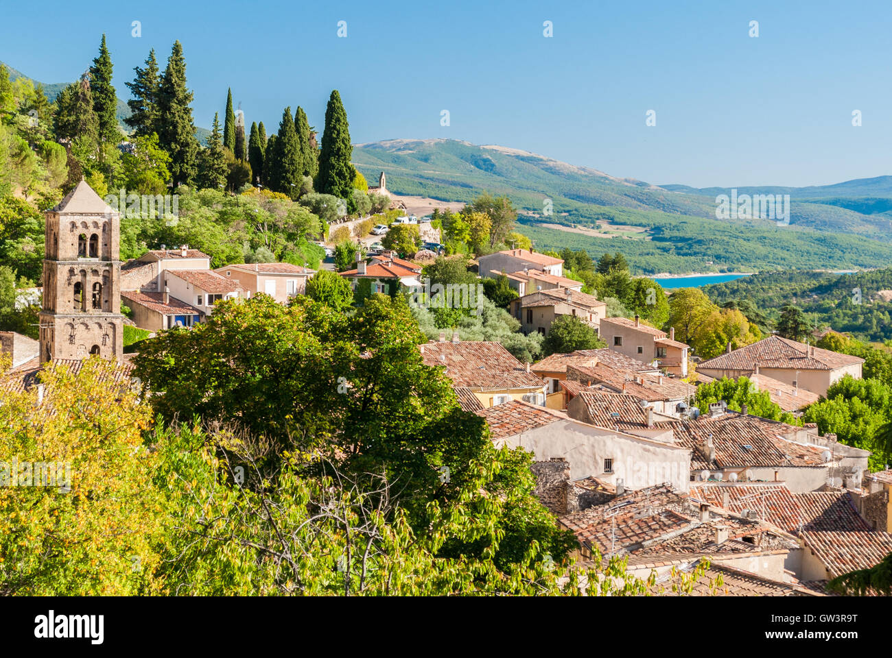 The village of Moustiers-Sainte-Marie in Provence (France) Stock Photo