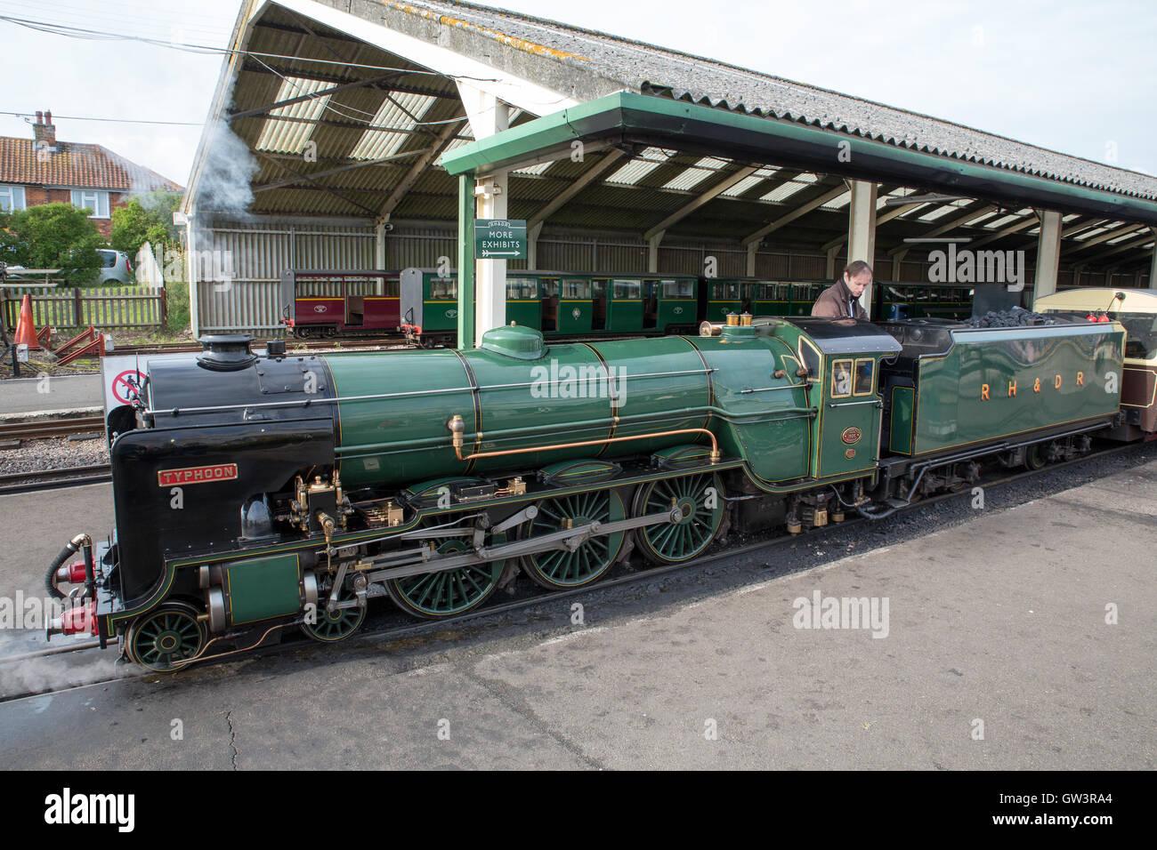 The Romney, Hythe & Dymchurch Railway (RH&DR) is a 15 in (381 mm) gauge light railway in Kent, England, - Stock Image